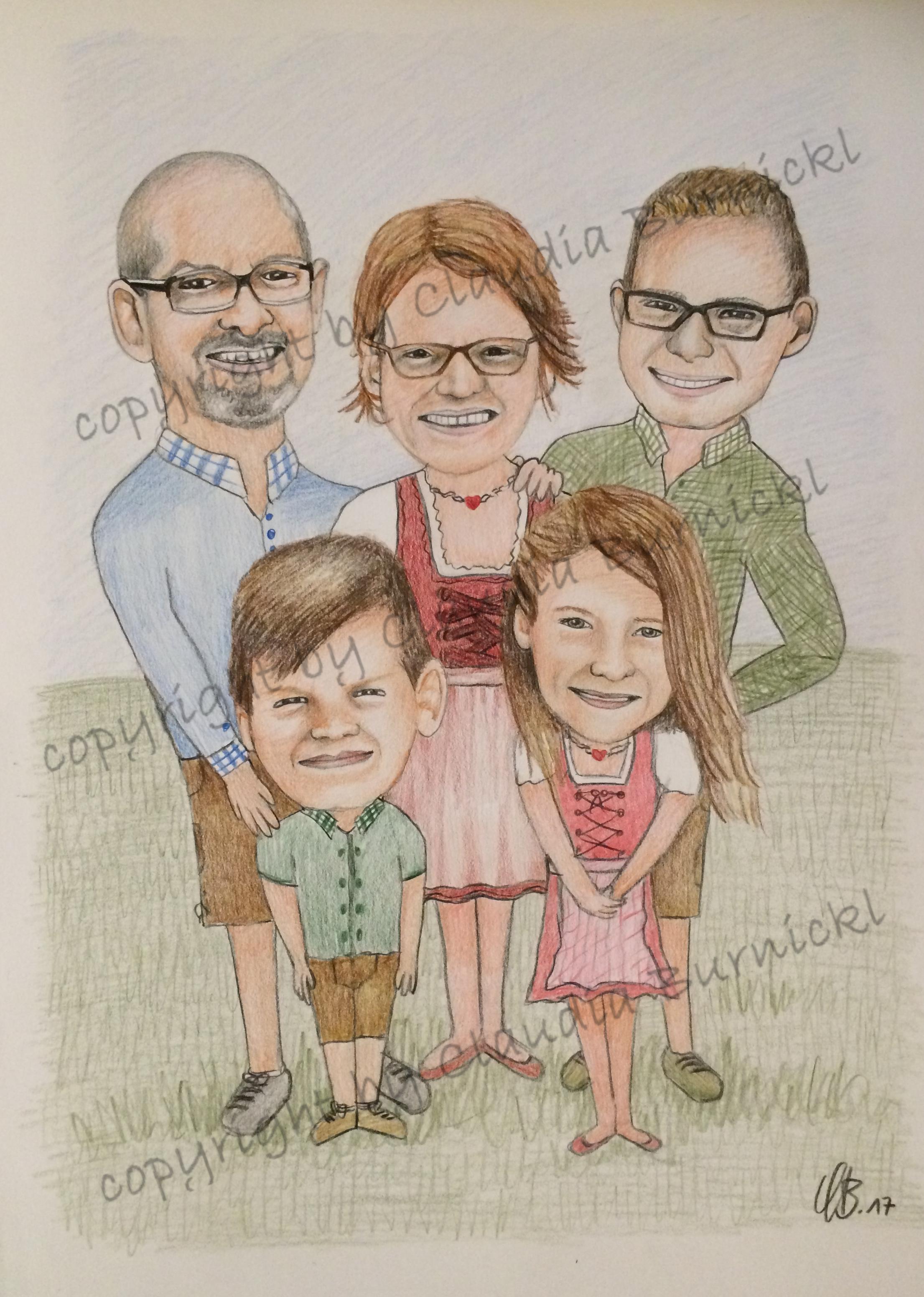 Karikatur Familie